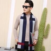 男士围巾冬季简约百搭毛线针织年轻人保暖潮学生长款围脖棉