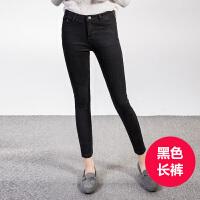 2017韩国春季韩版学生显瘦高腰直筒裤黑色小脚铅笔牛仔裤女九分