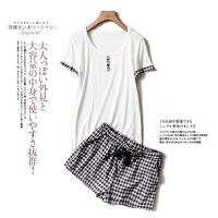 夏款女装显瘦 圆领短袖+休闲格子短裤 时尚两件套套装L24