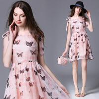 16新款女装韩版甜美粉色雪纺立体花朵蝴蝶印花欧根纱时尚连衣裙夏