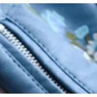 2018春秋装新款韩版机车服皮夹克短款女士外套花朵刺绣pu皮衣黑色