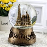 旋转雪花水晶球音乐盒埃菲尔铁塔样式创意小礼品送女朋友送生日节日礼物送儿童