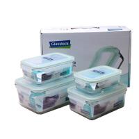 三光云彩钢化玻璃饭盒微波炉钢化玻璃保鲜盒便当盒4件G1101