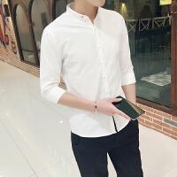 衬衫男潮流夏季七分袖修身休闲短袖新款学生个性帅气针织衫白衬衣