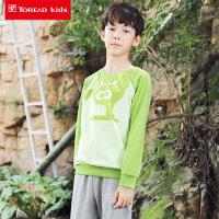 探路者童装 男童卡通圆领套头针织卫衣/长裤套装