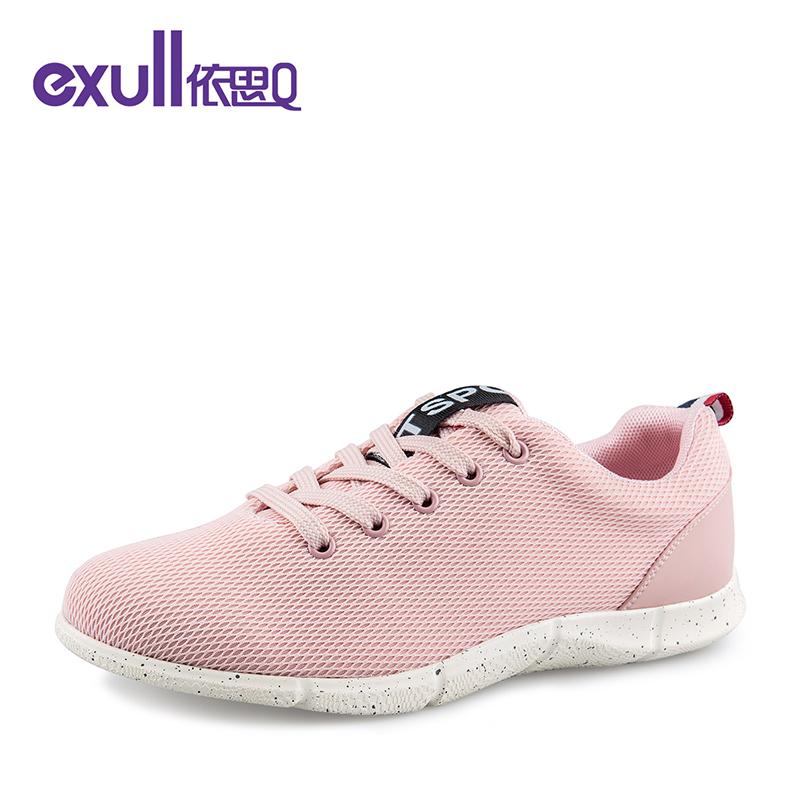 依思q春秋新款透气网布拼接休闲鞋低跟系带休闲单鞋