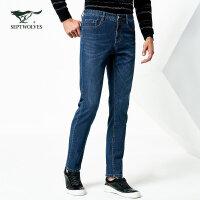 七匹狼牛仔裤春青年男士时尚潮流修身直脚五袋牛仔裤男