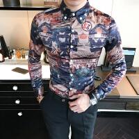 新款秋季韩版潮流个性印花衬衫青年潮流时尚花色上衣夜店免烫长袖
