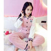 秋冬季珊瑚绒睡衣女冬可爱冬季加厚天法兰绒韩版家居服冬季套装保暖 粉红色