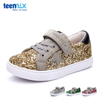 百丽天美意teenmix童鞋儿童休闲鞋2017新款闪亮牛皮休闲鞋女童运动鞋DX0179