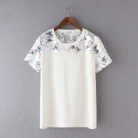 夏女装新款上衣加肥加大码胖MM韩版小鸟印花蕾丝短袖打底衫T恤潮