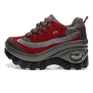 LINGWUZHE/领舞者新款女士厚底气垫徒步内增高运动休闲鞋