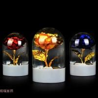 金箔玫瑰水晶球摆件玫瑰花桌面装饰品情人节婚庆创意礼品礼物