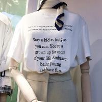 韩国学院风减龄宽松简约套头舒适休闲英文字母短袖T恤H