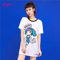 2017夏装新款韩版卡通印花中长款宽松上衣女式短袖白色T恤女士30072216