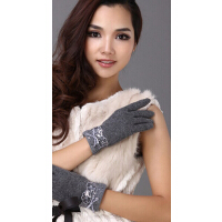 韩版女士高贵气质可爱蝴蝶结蕾丝珠片羊毛线分指手套