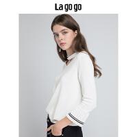 Lagogo2019秋季新款毛衣白色上衣七分袖甜美气质时尚v领针织衫女HCMM338A23