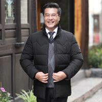 2018新款爸爸秋装外套中年男加厚棉衣中老年休闲夹克40-50岁冬装