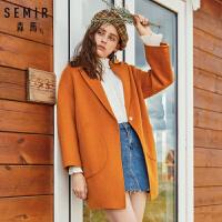 森马毛呢外套女2018冬季新品中长款韩版双面呢羊毛大衣学生翻领