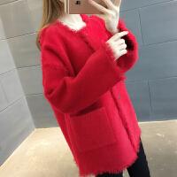 春装新款韩版宽松中长款单排扣针织衫女士开衫百搭时尚毛衣外套潮