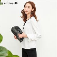 【3折到手价89元】新款雪纺衫拉夏贝尔韩版宽松白色 系带荷叶袖仙气质上衣女士10015770