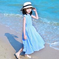 女童夏季裙子中大童儿童无袖花边领沙滩连衣裙潮