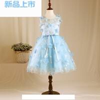 女童公主裙儿童礼服蓬蓬裙花仙子演出服蓝色花童礼服钢琴摄影春夏