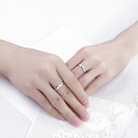 s925银情侣戒指女简约开口对戒日韩男女银饰品一对戒生日礼物