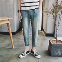 男士牛仔裤春装新款韩版水洗做旧宽松哈伦裤青少年学生九分裤