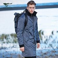 七匹狼户外运动棉服2017冬季保暖防风防寒中长款立领保暖外套男装