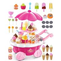 女孩仿真小手推车糖果车 儿童过家家冰淇淋车玩具