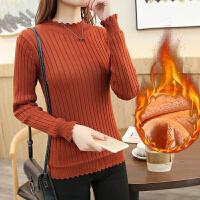 春装新款加绒上衣时尚毛衣女套头修身打底衫春装半高领长袖针织衫