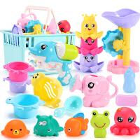 宝宝洗澡玩具戏水捏捏叫男孩女孩婴儿儿童喷水1-3岁智力套装2浴缸
