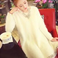 秋冬镶钻慵懒宽松貂绒套头白色毛衣女加厚中长款针织连衣裙潮 米白色