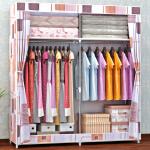 索尔诺简易布衣柜加粗16MM钢管 密封防尘衣柜 钢管加固加厚简易衣柜 钢架布衣橱1602