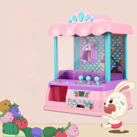 电动投币抓娃娃机闹钟夹公仔机玩具家用女孩儿童迷你小型