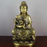 观世音摆件如意观音娘娘 铜工艺品送子观音菩萨佛像