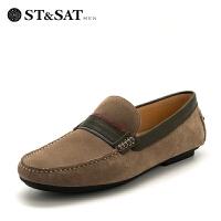 星期六(ST&SAT)专柜同款头层牛皮舒适透气时尚豆豆鞋SS82125615