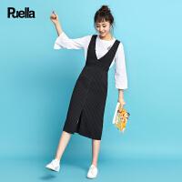 2017春秋装新款韩版收腰大v领无袖背带条纹直身中长款连衣裙女20009192
