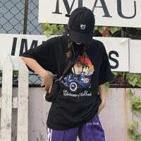 韩国INS同款复古老爷车椰树印花短袖T恤 18ss男女款