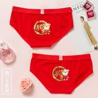 本命年大红色内裤女纯棉质女士三角裤低腰猪年结婚十二生肖2条装