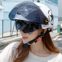 野马夏天电动车头盔女摩托车安全帽夏季轻便式电车防晒紫外线半盔