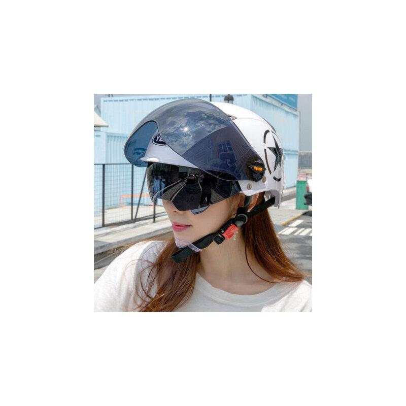 野马夏天电动车头盔女摩托车安全帽夏季轻便式电车防晒紫外线半盔 清凉系列 双镜系列 防晒设计