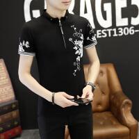 正品ZAH2017新款男士短袖T恤立领夏季修身韩版潮半袖体恤2017新款男装上衣打底衫