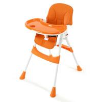 儿童餐椅多功能宝宝餐桌椅便携可折叠婴儿吃饭椅子小孩座椅学坐椅O 甜橙色