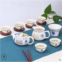 创意家用玲珑陶瓷功夫茶具套装茶盘盖碗茶壶泡茶杯简约礼品 7件