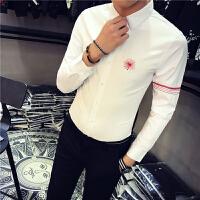 新款青年男士长袖衬衫修身小码工作服打底帅衬衣班服