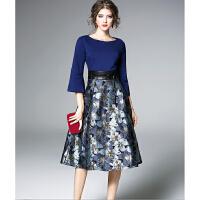 秋季新款连衣裙一字领收腰气质显瘦晚装宴会晚礼服女长款F750