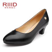 RIIID女鞋 粗跟圆头工作鞋通勤黑色
