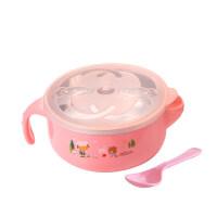 辅食碗 小孩吃饭碗婴儿辅食碗宝宝餐具不锈钢碗儿童注水保温碗摔带盖勺O
